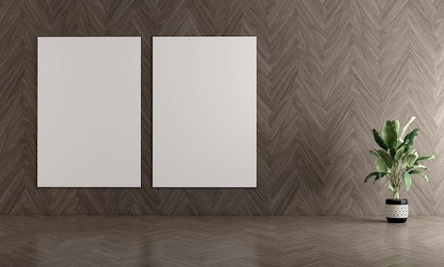 Современный дизайн интерьера гостиной и пустая рамка на фоне деревянной текстуры стены