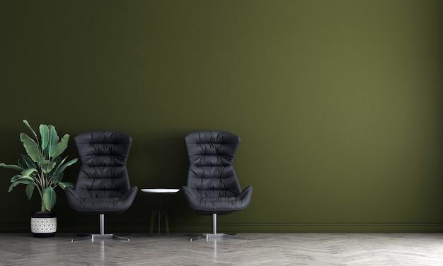 Современный дизайн интерьера гостиной и зеленая бетонная текстура стены фон