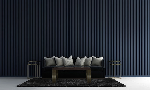 Modern living room interior design and dark blue tile texture wall background