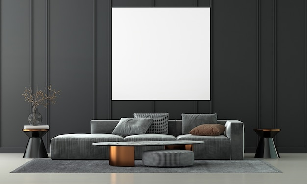 Modern living room interior design and empty canvas frame on black texture wall background