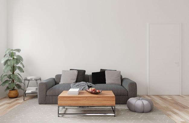モダンなリビングルームのインテリアデザイン。白い壁に灰色のソファ。