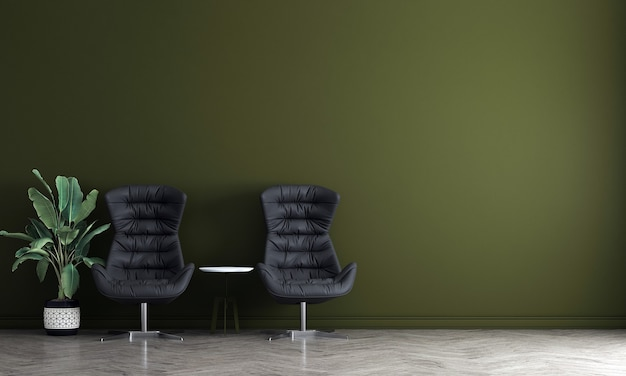 Modern living room interior design and green concrete texture wall background