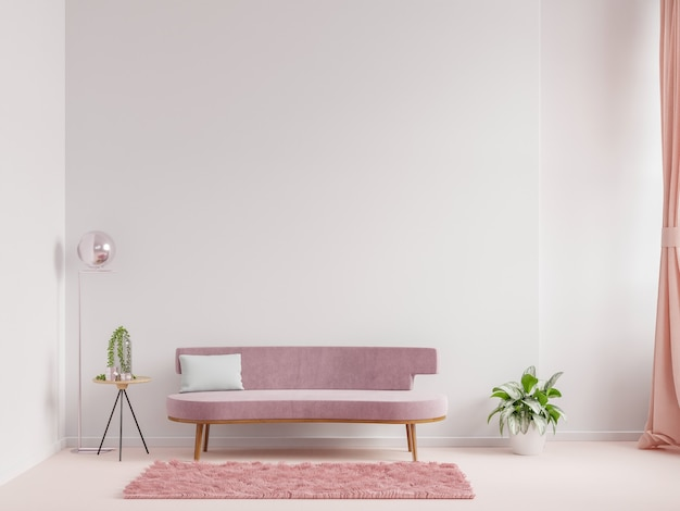 Modern living room interior design a pink sofa and armchair on empty white wall background,3d rendering