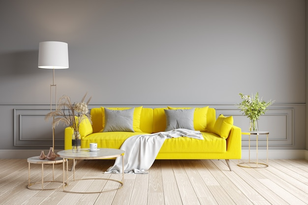 Современный дизайн интерьера гостиной. желтый диван на серой стене. цвет 2021 года