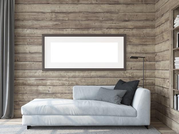 Интерьер современной гостиной. макет рамы. белый диван у деревянной стены. 3d визуализация.