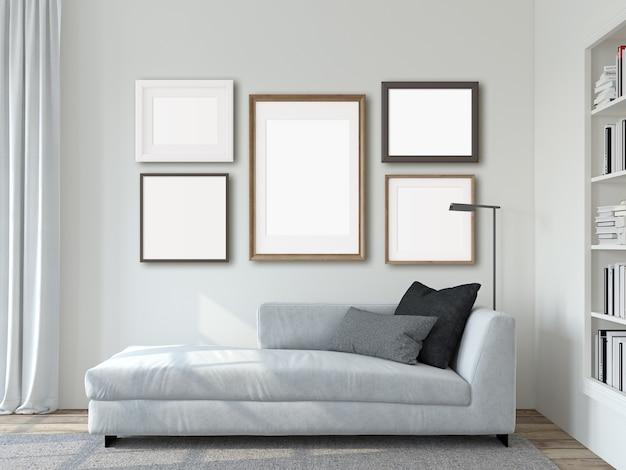 Интерьер современной гостиной. макет рамок. белый диван у белой стены. 3d визуализация.