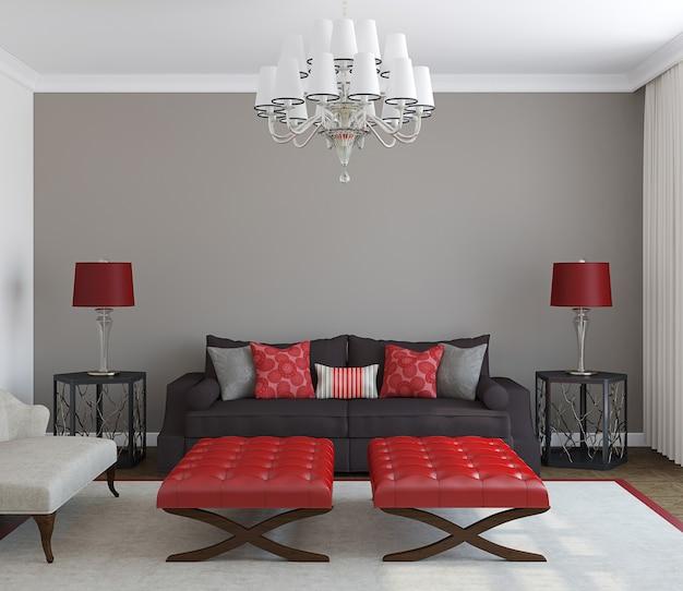 Современный интерьер гостиной. вид спереди. 3d визуализация.