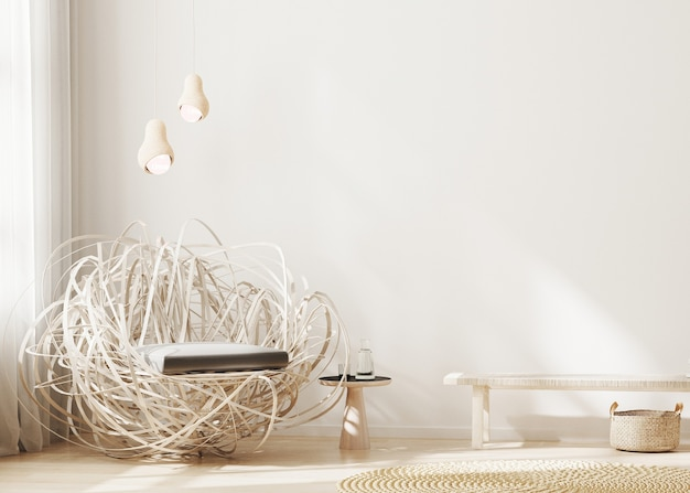 둥지 디자인 안락 의자와 밝은 색상의 현대 거실 인테리어
