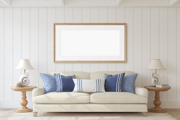 Современный интерьер гостиной в прибрежном стиле. макет интерьера и каркаса. 3d визуализация.