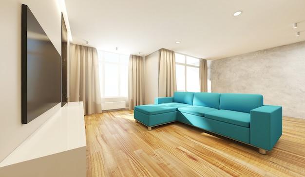Интерьер современной гостиной в светлых тонах с телевизором, угловым диваном и большими окнами