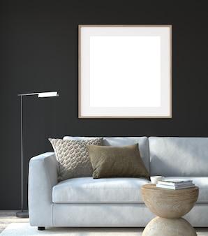 현대 거실 인테리어. 인테리어 및 프레임 모형. 검은 벽 근처의 흰색 소파. 3d 렌더링.