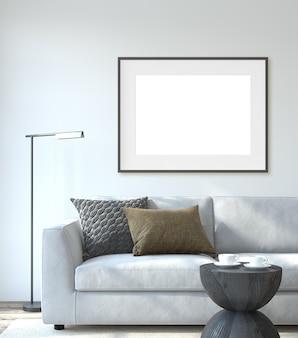 モダンなリビングルームのインテリア。インテリアとフレームのモックアップ。白い壁の近くの白いソファ。 3dレンダリング。