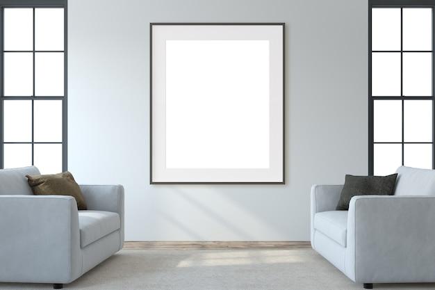 モダンなリビングルームのインテリア。インテリアとフレームのモックアップ。白い壁の近くに2つの白いarmchaira。 3dレンダリング。