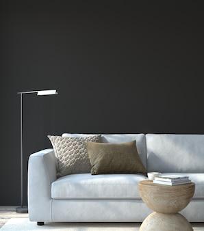 Интерьер современной гостиной. макет интерьера. белый диван у пустой черной стены. 3d визуализация.