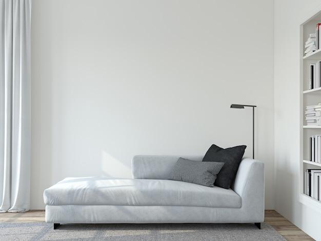 현대 거실 인테리어. 인테리어 모형. 빈 흰색 벽 근처에 흰색 소파입니다. 3d 렌더링.