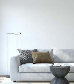Интерьер современной гостиной. макет интерьера. белый диван у пустой белой стены. 3d визуализация.