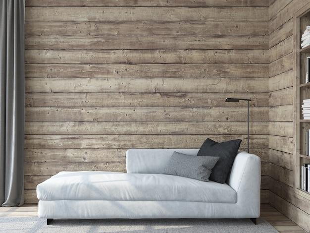 현대 거실 인테리어. 인테리어 모형. 빈 나무 벽 근처 흰색 소파입니다. 3d 렌더링.