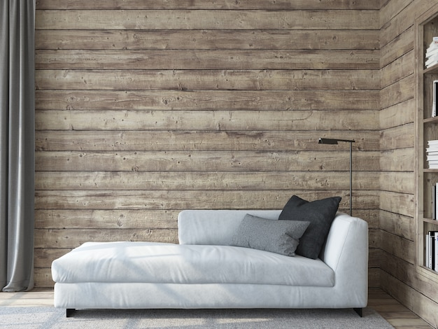 Modern living room interior. interior mockup. the white couch near empty wooden wall. 3d render.