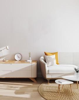 현대 거실 인테리어. 모형, 흰색 벽과 현대적인 미니멀리즘 가구가있는 거실. 스칸디나비아 스타일, 세련된 거실 인테리어. 3d 일러스트