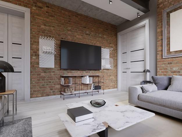 현대적인 거실 내부, tv는 검은색 스크린이 있는 벽돌 벽에 장착되어 있습니다. 3d 렌더링