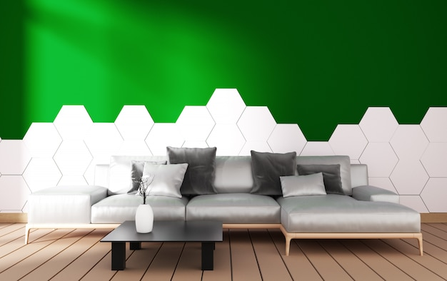Modern living room interior with armchair decoration and green plants