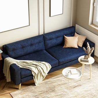 Интерьер современной гостиной с синим диваном. 3d рендеринг