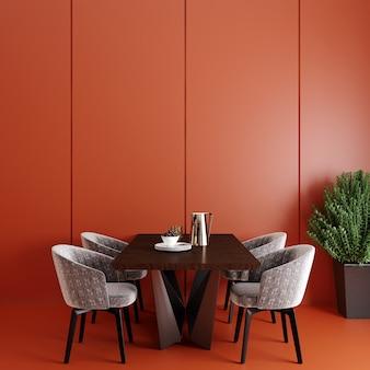 Интерьер современной гостиной со столовой перед красной стеной