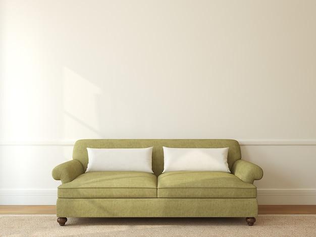 빈 베이지 색 벽 근처 녹색 소파와 현대 거실 인테리어. 3d 렌더링.