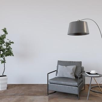 灰色のアームチェアと植物のモダンなリビングルームのインテリア Premium写真