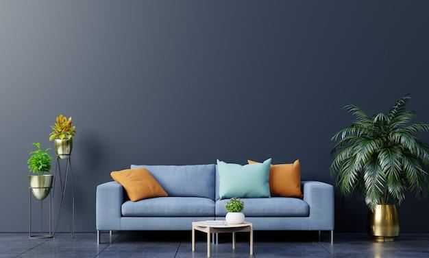 소파와 녹색 식물, 램프, 어두운 벽 배경에 테이블 현대 거실 인테리어.