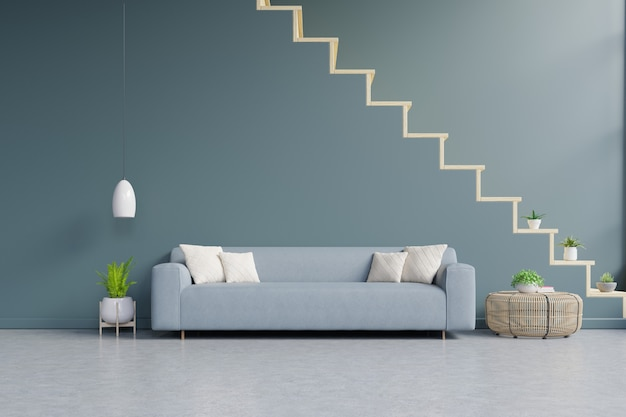 Modern living room interior with sofa and green plants, lamp, table on dark green wall