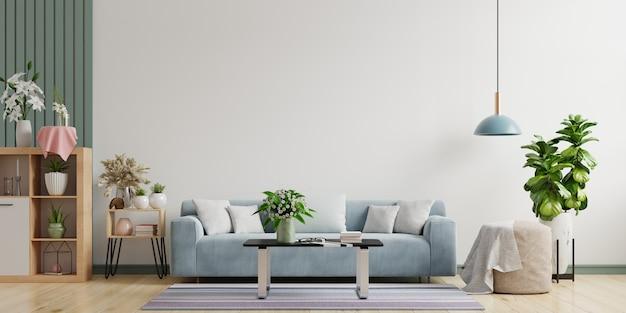 Интерьер современной гостиной с диваном-лампой и зелеными растениями на фоне белой стены, минимальный дизайн, 3d-рендеринг