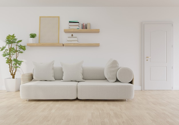 Modern living room interior with sofa on living coral color of the year 2019