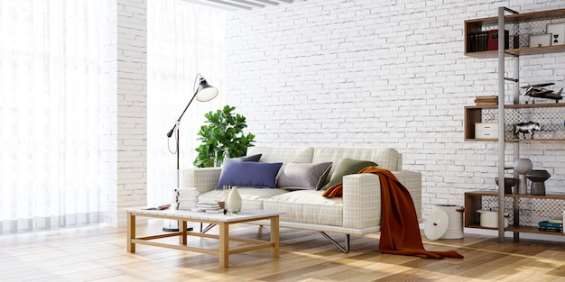 Modern living room interior with sofa and shelf on brick wall bakcground 3d render
