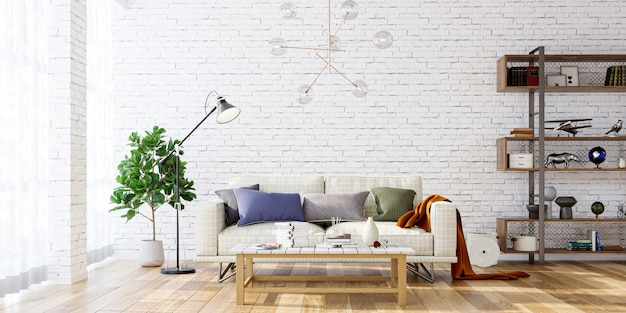 Modern living room interior with sofa and shelf on white brick wall bakcground 3d render