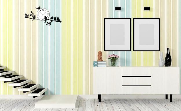 현대 거실 인테리어 계단, 포스터 및 사이드 테이블을 조롱