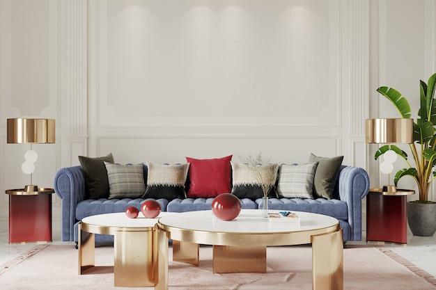 Интерьер современной гостиной со столом, диваном и подушкой