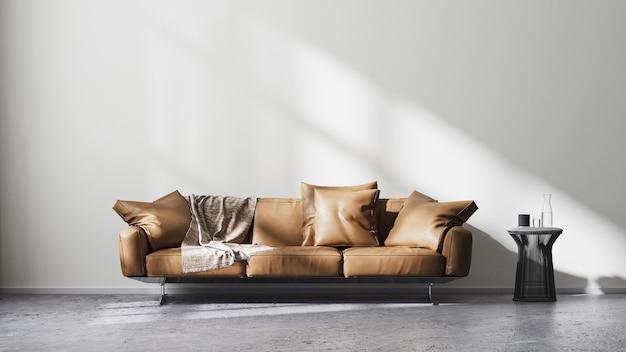 흰색 벽과 태양 광선이 있는 현대적인 거실 내부, 갈색 가죽 소파, 원시 콘크리트 바닥에 검은색 디자인 커피 테이블, 스칸디나비아 미니멀리즘 스타일, 3d 렌더링