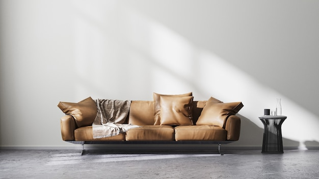 Modern living room interior with white wall and sun rays, brown leather sofa and black design coffee table on raw concrete floor, scandinavian minimalistic style, 3d rendering