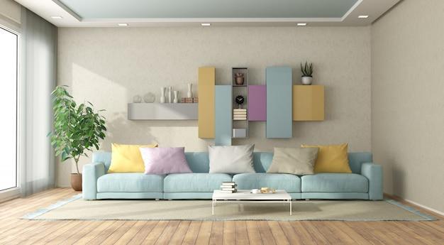 Modern living room in pastel colors