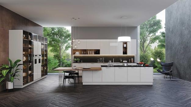 미국식 주방과 소파가있는 현대적인 거실