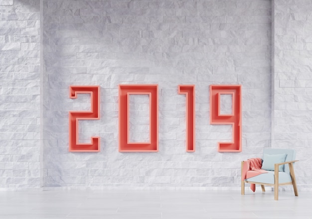 Modern living room with armchair and 2019 new year education concept.
