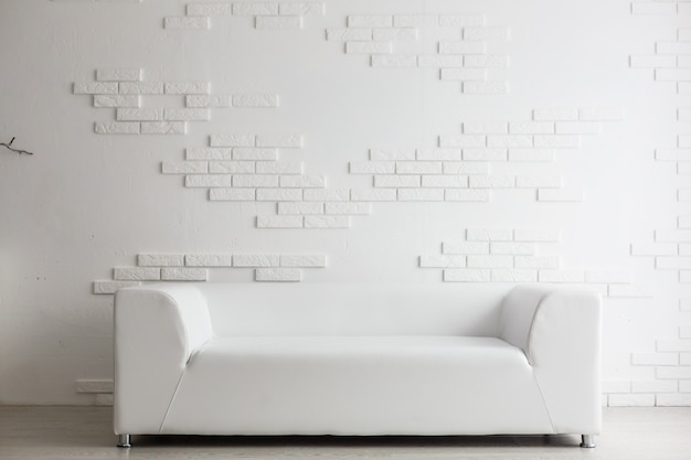 Modern living room with big empty white wall