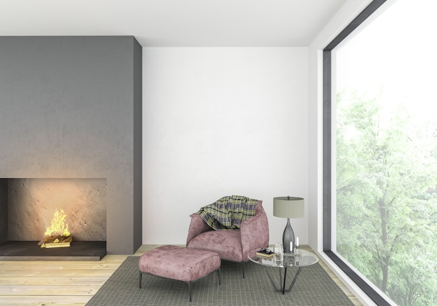 Modern living room with blank wall