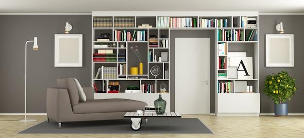 本棚付きのモダンなリビングルーム