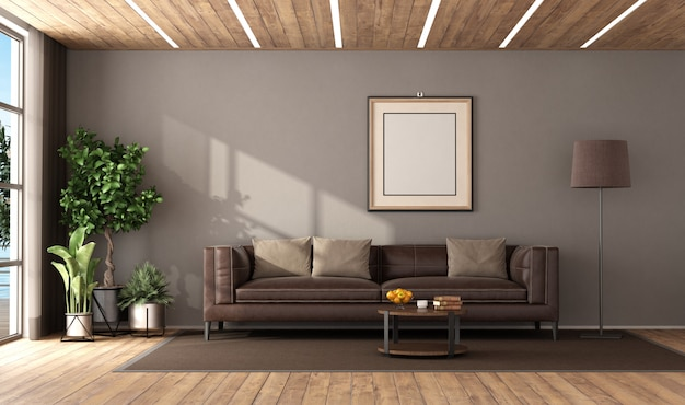 Modern living room with brown leather sofa