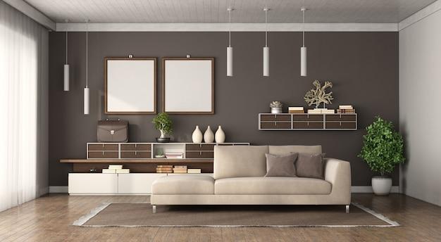 背景に茶色の壁のソファとサイドボードを備えたモダンなリビングルーム