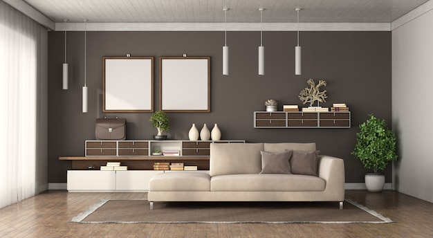 Modern living room with brown wall sofa and sideboard on background