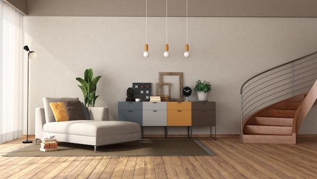 寝椅子と木製の階段のあるモダンなリビングルーム