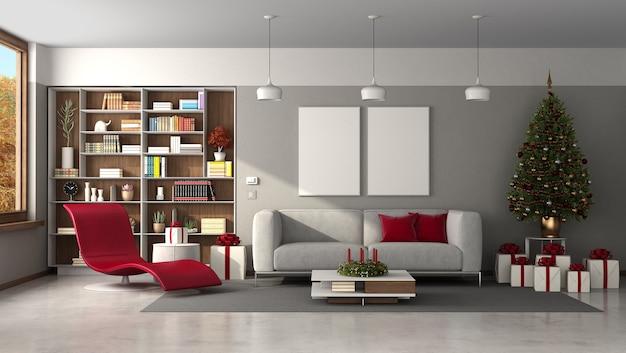Современная гостиная с елкой, диваном и шезлонгом